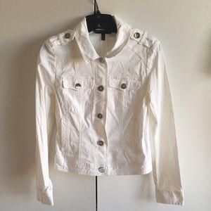 White jean jacket from White House Black Market